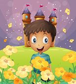 Illustration of a happy boy in front of the castle at the hilltop