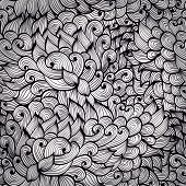 Beautiful Seamless Abstract Hand Drawn Monochrome Background With Clouds, Leaves And Flames. Eps10