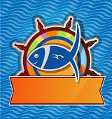 picture of rudder  - restaurant fish menu on rudder on sea background - JPG