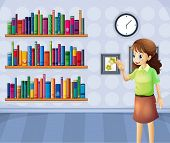 Illustration of a female librarian inside the library