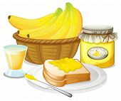 Illustration of the banana jam, juice and a sandwich on a white background