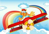 stock photo of float-plane  - Illustration of a tiger on a plane near the rainbow - JPG