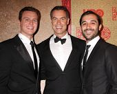 vLOS ANGELES - JAN 12:  Jonathan Groff, Murray Bartlett, Frankie J. Alvarez at the HBO 2014 Golden G