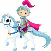 Brave Knight riding on a horse. Raster version