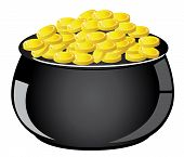image of golden coin  - vector illustration of a pot with golden coins - JPG