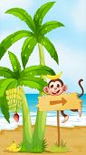 Illustration of a beach with a monkey near the banana plant