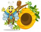 Illustration of a happy bee holding a stick with honey on a white background
