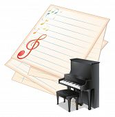 Illustration of an empty paper with musical notes beside a piano on a white background