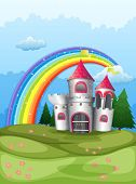 picture of yellow castle  - Illustration of a castle at the hilltop with a rainbow - JPG