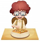 Illustration of a happy boy eating pizza on a white background