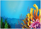pic of underworld  - Illustration of a beautiful view under the sea on a white background - JPG