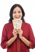 Woman Holding Indian Currency Notes