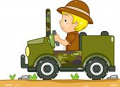 pic of  jeep  - Illustration of a Boy in a Safari Outfit Driving a Camouflage Jeep - JPG