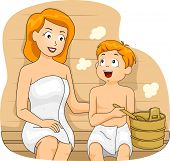Illustration of a Mother and a Son Bonding in a Sauna