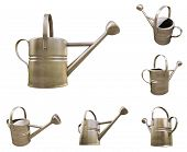 Watering can made of metal on white background
