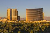 LAS VEGAS, NEVADA - November 29, 1013:  Dawn view of the upscale Palazzo and Wynn Casino Resorts in