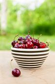 Bowl of sweet cherry on a table outdoors