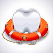 Vector illustration - tooth with lifebuoy