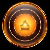 Icono de pausa oro, aislado sobre fondo negro