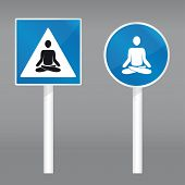 road sign with meditating person