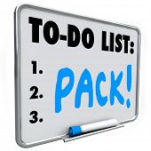 Pack word on a to-do list written on a dry erase board to remind you to prepare packing
