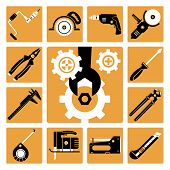 pic of grampus  - Set of vector icons of working tools - JPG