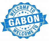 Welcome To Gabon Blue Grungy Vintage Isolated Seal