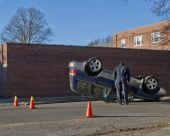 Police Investigate Upside Down Car