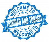 Welcome To Trinidad And Tobago Blue Grungy Vintage Isolated Seal