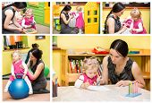 picture of montessori school  - Mother and child girl playing in kindergarten in Montessori preschool Class - JPG