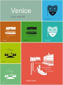 Landmarks of Venice. Set of flat color icons in Metro style. Raster image.