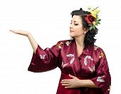 Kimono Woman Extending Her Right Arm With Ads Space