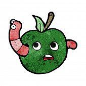 cartoon worm in apple