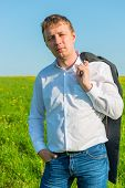 Portrait Of Male Entrepreneur Summer Day In The Field