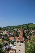 View Over The Tower Of The Fortified Church In Biertan