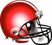 stock photo of football helmet  - Vector illustration of red football helmet on a white background - JPG