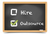 detailed illustration of different checkboxes with hire and outsource options on a blackboard, eps10