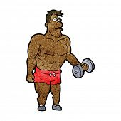 stock photo of weight lifter  - cartoon man lifting weights - JPG