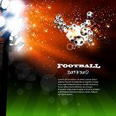 Football spotlight background with soccer ball, easy all editable