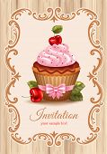 Cute festive background with cherry cupcake, cream and chocolate. Vector illustration.