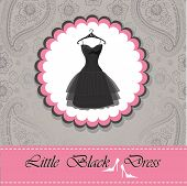 Label With Little Black Dress.paisley Lace Background