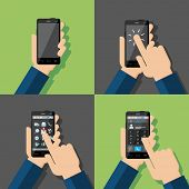 Hands holding touchscreen smartphones. Blank sreen, turning on, choosing icons, calling. Vector illustration.