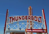 The Thunderbolt roller coaster sign at Coney Island in Brooklyn