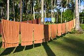 Fresh Clean Hotel Towels Drying On A Line Outdoors