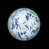 Realistic Blue Planet Isolated On Black Background.