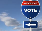 Vote road sign