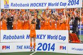 THE HAGUE, NETHERLANDS - JUNE 14, Maartje Paumen of the Dutch women field hockey squad presents the