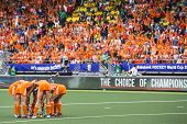 THE HAGUE, NETHERLANDS - JUNE 14: The Dutch team prepares for a penalty corner in a sold out Kyocera stadium, surrounded by home fans, during the final match against australia, in 2014