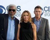 LOS ANGELES - MAY 19:  Morgan Freeman, Tea Leoni, Tim Daly at the CBS Summer Soiree at the London Ho