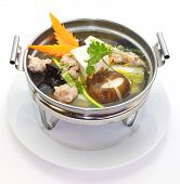 Mild soup with vegetables, pork, mushrooms and bean curd